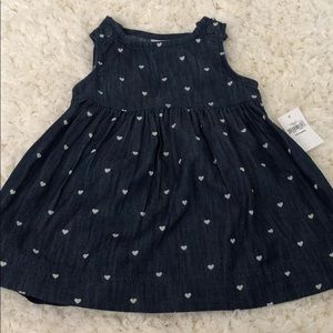 Baby girl gap dress 3-6 months hearts blue NWT